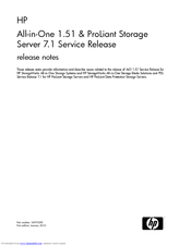 HP AK373A - StorageWorks All-in-One Storage System 1200r 5.4TB SAS Model NAS Server Release Notes