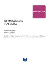 HP 345646-001 - StorageWorks NAS 2000s External Storage Server Administration Manual