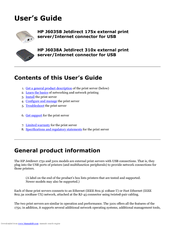 HP Jetdirect 310x - Print Server For Fast Ethernet User Manual