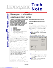 Lexmark CX310 series Tech Note