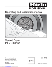 Miele PT 7138 Plus Operating And Installation Manual