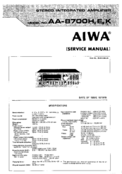 aiwa 8700 service manuals rh manualslib com Aiwa Stereo System CD Player Aiwa Speakers