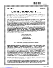 Sony SU-52NX1 Limited Warranty