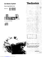 TECHNICS SC-HD350 OPERATING INSTRUCTIONS MANUAL Pdf Download