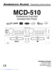 AMERICAN AUDIO MCD-510 Operating Instructions Manual