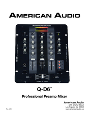 AMERICAN AUDIO Q-D6 - REV 4-05 Manual