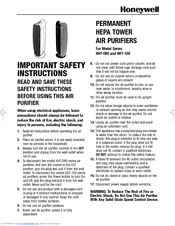 Honeywell HHT-100 Series Important Safety Instructions Manual