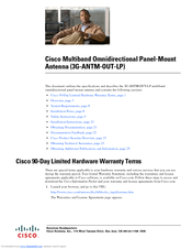 Cisco 3G Omnidirectional Outdoor Antenna - 3G Omnidirectional Outdoor Antenna User Manual