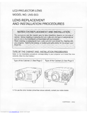 Sanyo LNS-S03 - Zoom Lens - 97 mm Replacement /Installation Instructions