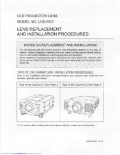 Sanyo LNS-W03 - Wide-angle Lens - 30 mm Lens Replacement Manual