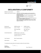 Garmin VHF 300 series Declaration Of Conformity