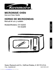 Kenmore 6325 - 1.2 cu. Ft. Countertop Microwave Use And Care Manual