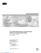 Cisco ME 3400G-2CS - Ethernet Access Switch Software Configuration Manual