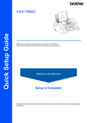 Brother 1960C - IntelliFAX Color Inkjet Quick Setup Manual