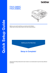 Brother IntelliFax-2580C Quick Setup Manual