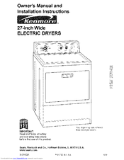 KENMORE 11069912990 OWNER'S MANUAL AND INSTALLATION ... on