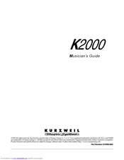 KURZWEIL K2000 - MUSICIANS GUIDE Product Features Manual