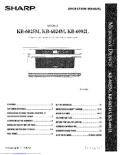 Sharp KB-6002L Operation Manual