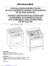 """Kitchenaid Kdss907sss kitchenaid kdss907sss - 30"""" slide-in dual fuel range manuals"""