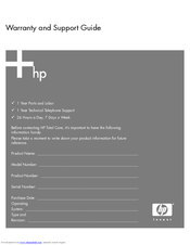 HP Pavilion w1100 - Desktop PC Support Manual