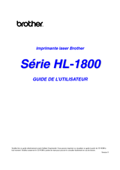 Brother 1870N - HL B/W Laser Printer Manual De L'utilisateur