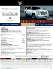 CADILLAC 2011 Escalade Datasheet