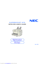 NEC 870 - SuperScript B/W Laser Printer Network User's Manual
