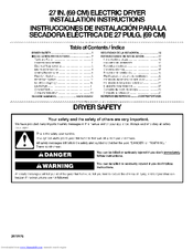 Kenmore 6962 - 600 7.0 cu. Ft. Capacity Electric Dryer Installation Instructions Manual