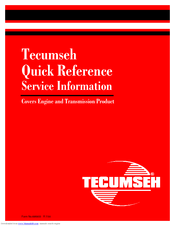 TECUMSEH AH-HSK600 QUICK REFERENCE Pdf Download
