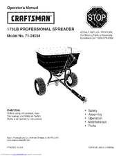 Craftsman 24594 - Professional Universal Broadcast Spreader Operator's Manual