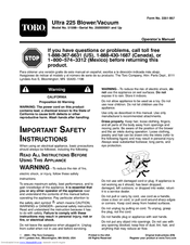 manuals and user guides for toro 51598 - electric ultra 225 blower vac  we  have 1 toro 51598 - electric ultra 225 blower vac manual available for free  pdf