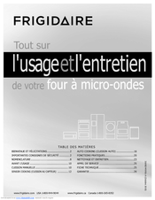 French Frigidaire Fgmv173kw Gallery Series Microwave L Usage Et Entretien 27 Pages