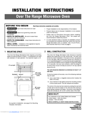 Frigidaire Fpbm189kf Professional Series Over The Rang Installation Instructions Manual