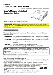 Hitachi CP-AW250N User Manual
