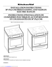 KitchenAid KESS907SWW - on 30 Inch Slide-In Electric Range Installation Instructions Manual
