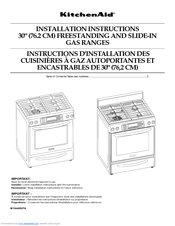 KitchenAid KGRS807XSP Installation Instructions Manual