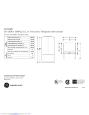 GE GFSS2KEYSS - 22.2 cu. Ft. Refrigerator Dimensions And Installation Information