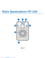 Nokia HF 200 - Speakerphone - Bluetooth hands-free User Manual