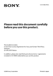Sony COM-2BLACK - Mylo™ Internet Device License Agreement