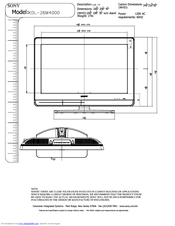 Sony KDL-26M4000/T - Bravia M Series Lcd Television Dimensional Drawing