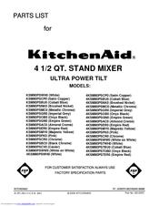 KITCHENAID KSM90PS - ULTRA POWER STAND MIXER PARTS LIST Pdf ...