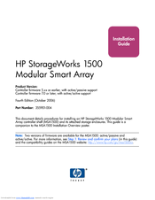 HP AD510A - StorageWorks Modular Smart Array 1500 cs 2U Fibre Channel SAN Attach Controller Shelf Hard Drive Installation Manual
