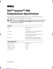 Dell Inspiron 1564 Specifications