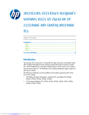 HP 2730p - EliteBook - Core 2 Duo 1.86 GHz Software Installation Manual