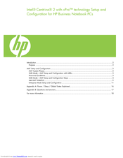 HP 2530p - EliteBook - Core 2 Duo 2.13 GHz Setup And Configuration Manual