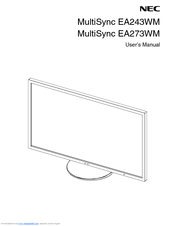 NEC MultiSync EA273WM User Manual