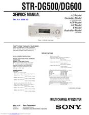sony str dg600 multi channel av receiver manuals rh manualslib com sony str-dg600 service manual sony str-dg600 service manual