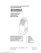 Kenmore 1700 - 6 Gallon Humidifier Use And Care Manual