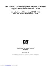 HP 376227-B21 - ProLiant InfiniBand 4x Fabric Copper Switch Installation Manual