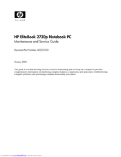 HP 2730p - EliteBook - Core 2 Duo 1.86 GHz Maintenance And Service Manual